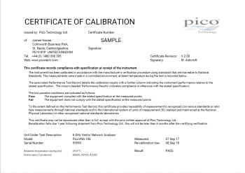 Preview of first page of a sample PicoVNA calibration certificate