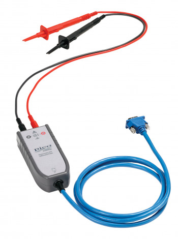 Compact top view of a PicoConnect 442 25:1 differential probe with 0.5m leads and TA089, TA090 sprung hook probes connected