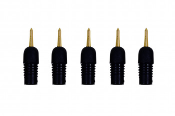 Five replacement rigid tips lined up in a row