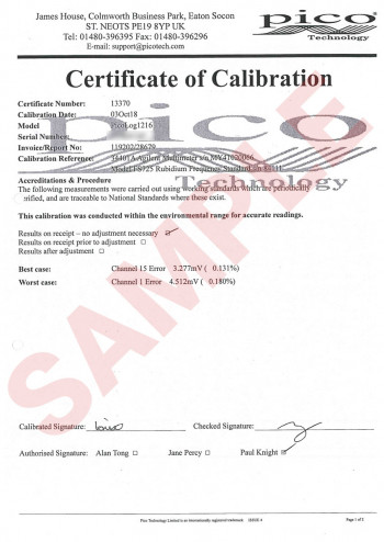 Pico voltage data logger calibration certificate