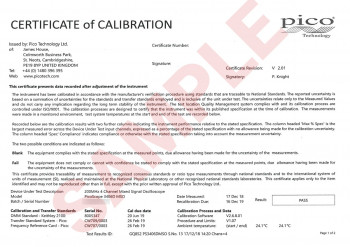 PicoScope 3000 Series calibration certificate