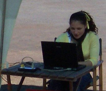 Student with laptop and data logger