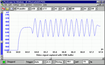 shows the same waveform, this time using a 128 kB buffer memory.