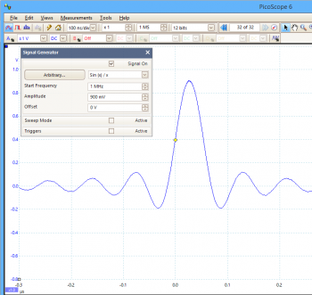 PicoScope Function Generator SinX/X waveform.