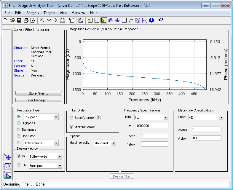 Signal Processing Toolbox Filter Design and Analysis Tool being used to design a Low Pass Butterworth Filter.