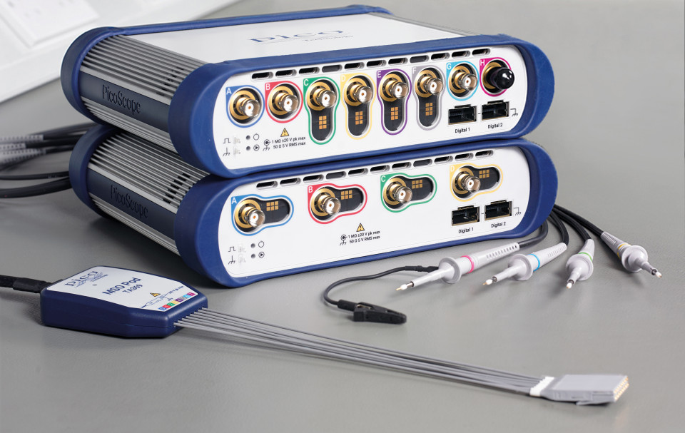 PicoScope 6000E 4-channel and 8-channel scopes with MSO pod and probes