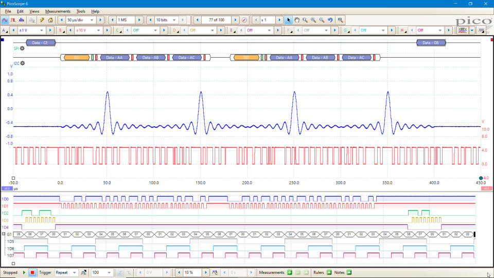 Screenshot of PicoScope 6000E MSO showing analog and digital channels, I2C and SPI decoding.