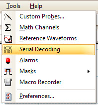 PicoScope Tools menu, with Serial Decoding shown selected.