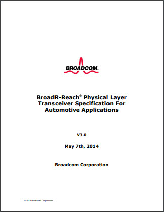 Front cover of the BroadR-Reach automotive Ethernet specifications.