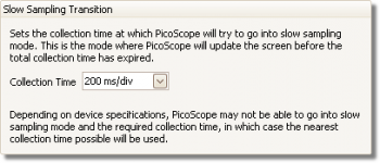 PicoScope streaming mode - setting preferences