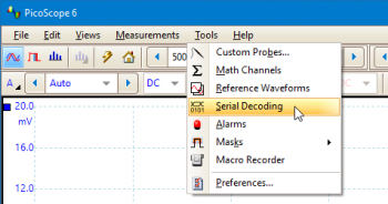 Click on Tools > Serial Decoding