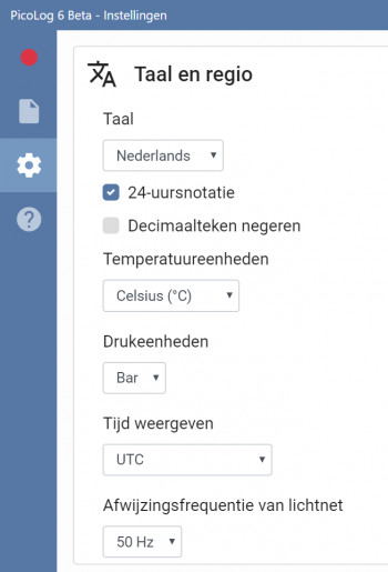 A snippet of a screenshot from PicoLog 6 showing language options including the new