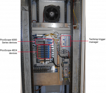 Figure 1: Indoor cabinet containing PicoScope 6000 Series and 4824 oscilloscopes and Techimp trigger manager.
