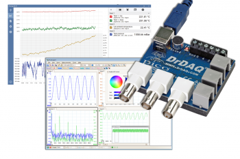 montage of DrDAQ data logger pictured on top of 2 screenshots from PicoLog 6 and PicoScope 6