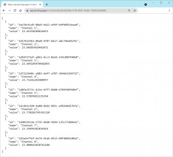 Shows a screenshot of a browser window showing the output data from PicoLog Cloud API