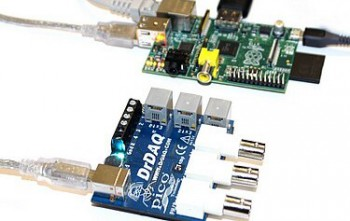 Image showing DrDAQ logger pictured side-by-side a RaspberryPi computer