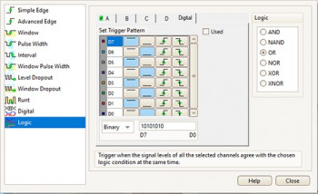 PicoScope 5000D MSO logic trigger setup menu