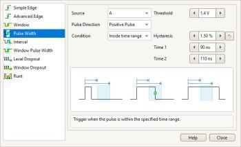 PicoScope 5000D pulse width triggering setup menu