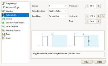 Меню настройки экрана настройки триггера PicoScope 5000D MSO.