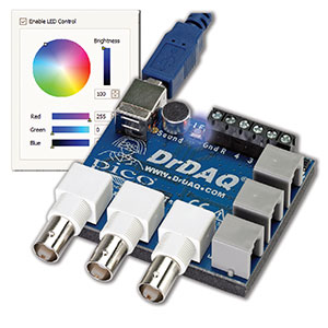 Montage of LED color setting and DrDAQ logger hardware