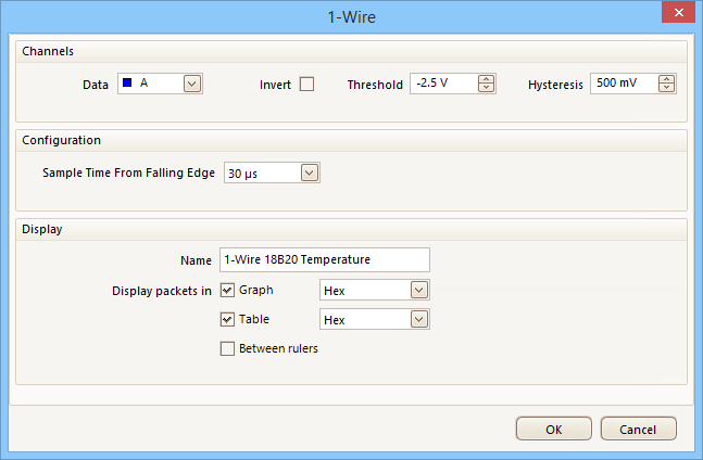 Select the 1-Wire decoder settings