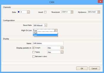 PicoScope settings for CAN L decoding