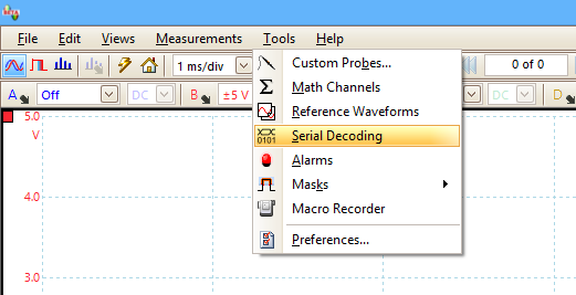PicoScope Tools menu
