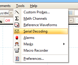 Select Serial Decoding from the PicoScope tools menu