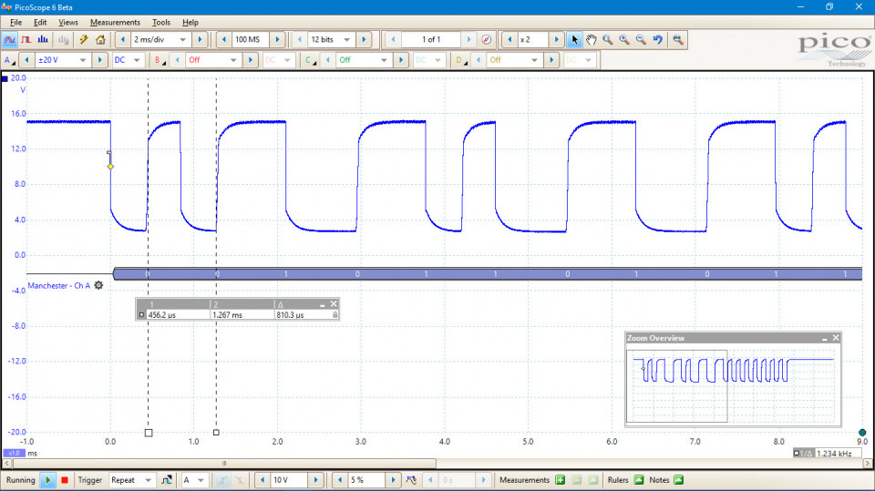 Manchester encoded waveform with a bit-period of 810 microseconds.