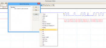 PicoScope Serial decoding menu, with I2C protocol selected