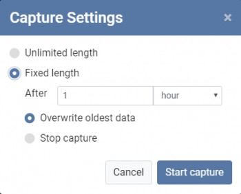 A screenshot of the menu for choosing an unlimited length or fixed length capture in PicoLog 6