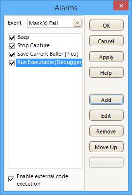 PicoScope можно запрограммировать на выполнение действий при соблюдении определенных условий.