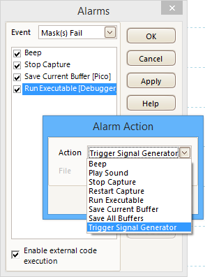 Set alarms function in PicoScope