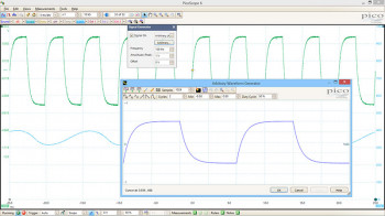 Screenshot showing PicoScope 6 arbitrary waveform generator menu in PicoScope 6 software