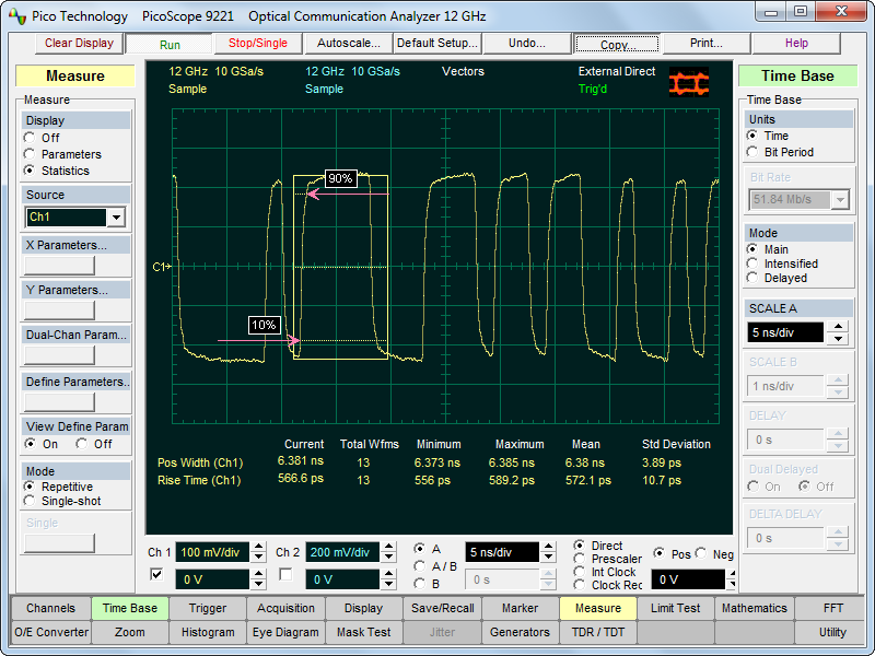 Oscilloscope Pulse Measurement : Sampling oscilloscope software with high end features