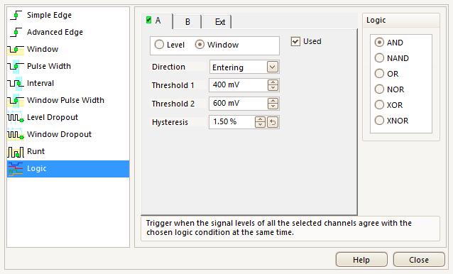Oscilloscope digital triggers